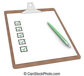 presse-papiers, à, liste contrôle, x, 5, et, stylo
