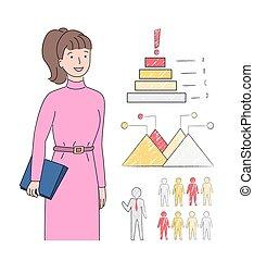 presse-papiers, diagrammes, mains, femme, businesslady