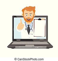 presse-papiers, docteur, ordinateur portable, consultation, stéthoscope, ligne, mâle, avoir