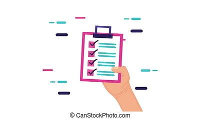 presse-papiers, liste contrôle, main, animation