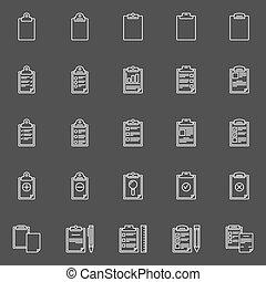 presse-papiers, ou, liste contrôle, icônes
