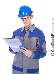 presse-papiers, stylo, construction, tenue, reviewer, mâle