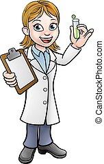 presse-papiers, tube, scientifique, tenue, essai, dessin animé