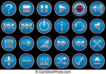 Pressed blue Control panel buttons