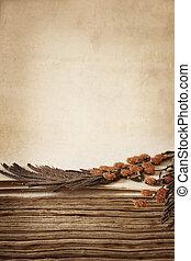 Pressed Flowers in Antique Book