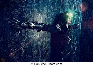 pressed - Portrait of a steampunk man over grunge background...