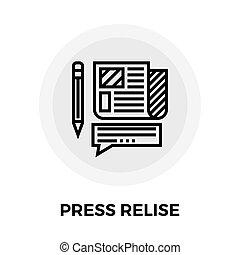 pressemappe, linie, ikone