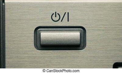 presses, fermé, puissance, button., /, bouton, homme