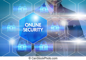 presses, gestion réseau, technologie, concept., internet, virtuel, business, ligne, homme affaires, sécurité, bouton, screen: