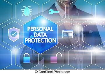 presses, gestion réseau, technologie, personnel, concept., virtuel, business, protection, internet, homme affaires, données, bouton, screen: