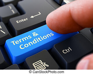 Pressing Blue Button Terms and Conditions on Black Keyboard.