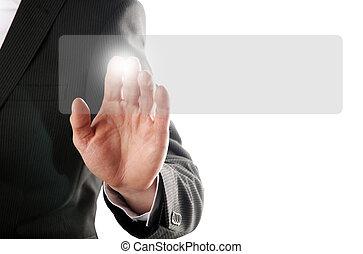 pressing button - businessman pressing a button on a virtual...