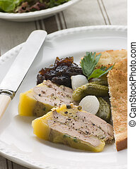 Pressing of Foie Gras and Green Peppercorns with Cornichons Brioche and Onion Confit