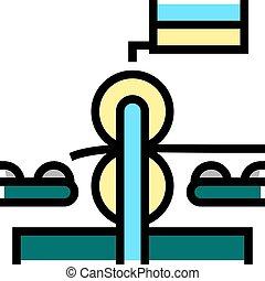 pressing wheels conveyor color icon vector illustration