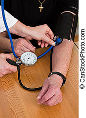 pression, attache, patient, sanguine, docteur