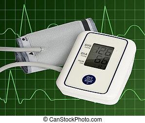 -, measurer, normal, numérique, tension artérielle. Malade..