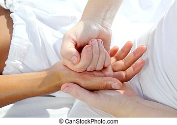 pressione, digitale, tuina, reflexology, terapia, mani, ...