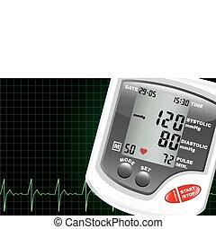 pressione, sangue, monitor