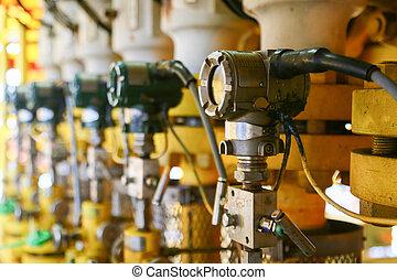 pressione, trasmettitore, olio, gas