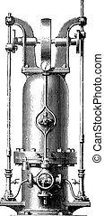 Pressure accumulator, vintage engraving.