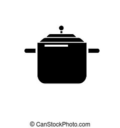 Pressure cooker - pot thermo icon, vector illustration, black sign on isolated background