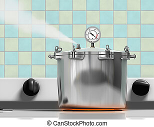 Pressure Cooker - Pressure cooker ready to explode on a red ...