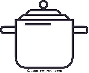 pressure cooker,thermo pot  vector line icon, sign, illustration on background, editable strokes