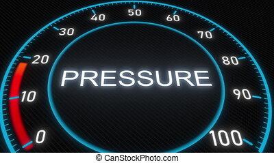 Pressure futuristic meter or indicator. Conceptual 3D...