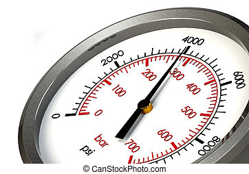 Pressure Gauge 4000 PSI - A Pressure Gauge Reading a...