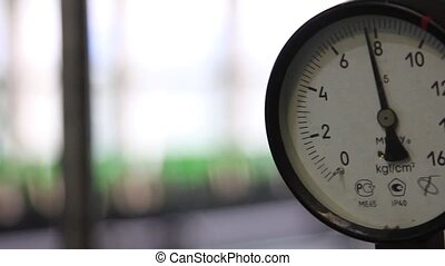 Pressure gauge at the factory close-up