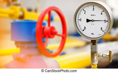 Industrial zone steel pipelines and valves gas or oil line