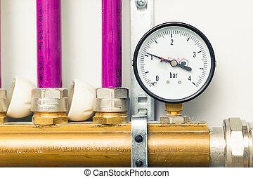 pressure gauge indicator in boiler-room