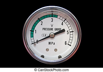 Pressure gauge indicator isolated on black.