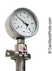 Pressure Gauge isolated On White - 10Bar pressure guage ...