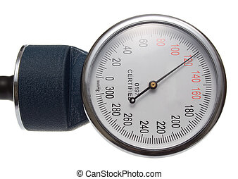 Medical Perssure Gauge. Part of any standard sphygmomanometer. Isolated on White.