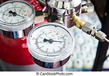 Pressure gauge on a gas regulator of a gas tank in a...