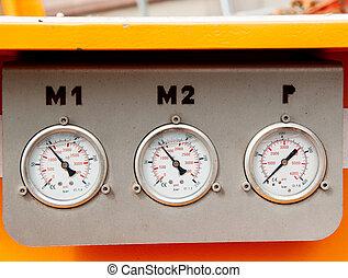 Pressure gauge on industry truck