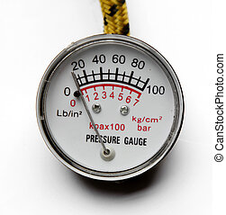 Pressure gauge on plain background