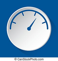 pressure gauge, simple blue icon on white button
