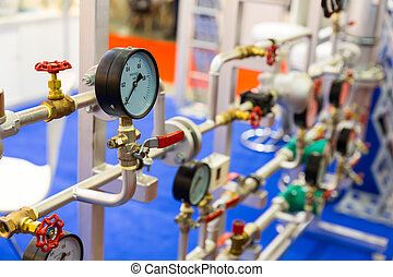 Pressure gauge, valves on pipeline, heat circuit
