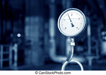 Pressure gauges and valves - Closeup of manometer, pipes and...