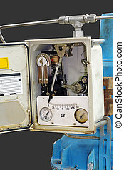 Pneumatic pressure indicating transmitter. Close-up isolated on gray background.