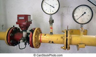 Pressure meters on natural gas pipeline.