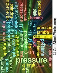 Pressure multilanguage wordcloud background concept glowing