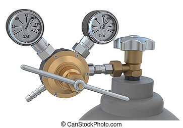 Pressure regulator with reducing valve on gas cylinder