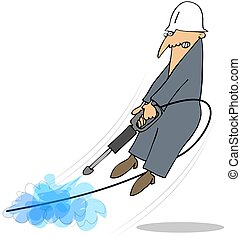 This illustration depicts a worker being blasted off the ground while using a pressure washer.