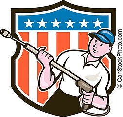 Illustration of a male pressure washing cleaner worker holding a water blaster viewed from front set inside shield crest with usa american stars and stripes in the bacgkround done in cartoon style.
