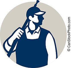 Pressure Washer Worker Circle Retro - Illustration of a male...