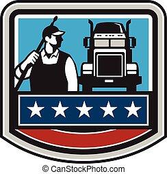 Pressure Washer Worker Truck Crest USA Flag Retro