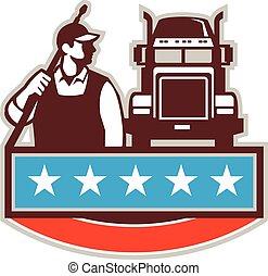 Pressure Washer Worker Truck USA Flag Retro - Illustration...